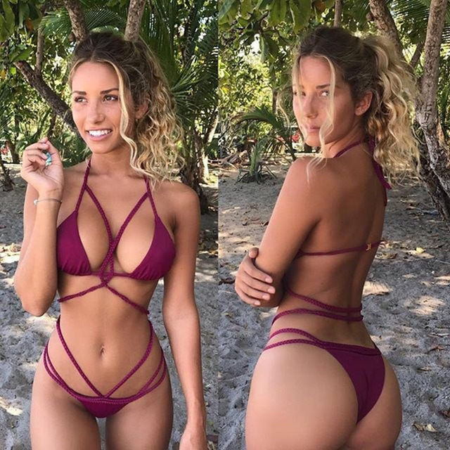 877ee155c7 Bathers Brazilian Bikini 2018 Bandage Swimsuit Solid Sexy Swimwear Women  Push Up Bathing Suit Beach Wear