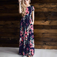 SHIBEVER New Print Round Neck Summer Dress Women Fashion Short Sleeve Casual Long Maxi Dress Floor
