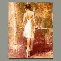 MaHuaf-X138 ديي النفط بالارقام مع الدهانات الاكريليك رقص الباليه عارية الظهر فتاة جدار غرفة المعيشة مؤطرة
