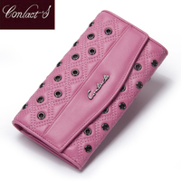2015 Latest Fashion Rivets Long Section Header Layer Calfskin Purse 2 Fold Wallet Large Capacity Women