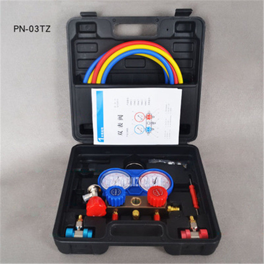 New PN-03TZ Air Conditioning  Fluoride Tools Set Snow Refrigerant Pressure Double Table Valve R134a air Conditioning Repair Tool 2017 new high quality air conditioning repair tools leak detection test adapter