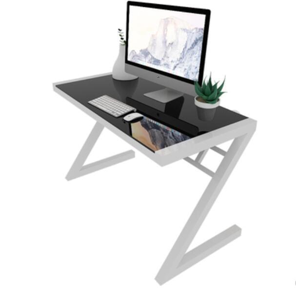 100*60*75cm Z Style Computer Desk Tempered Glass Writing Desk Laptop Desk