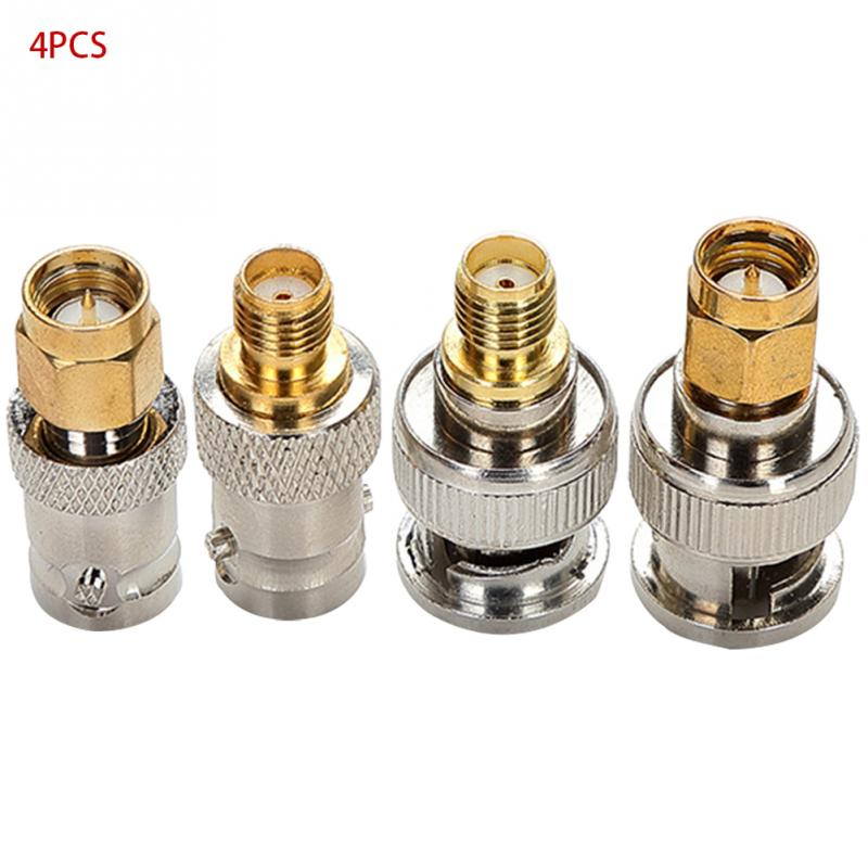4pcs BNC Male Plug To SMA Female Jack Straight RF Connector Adapter