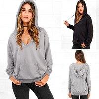 S To 3XL Gray Black Pullover Women Hoodies Sweatshirt V Neck Loose Casual Fashion Spring Autumn