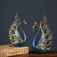 European Couple Blue Swan Figurines Home Decoration Wedding Gifts Wine Cabinet Display Resin Crafts Household Swan Miniatures