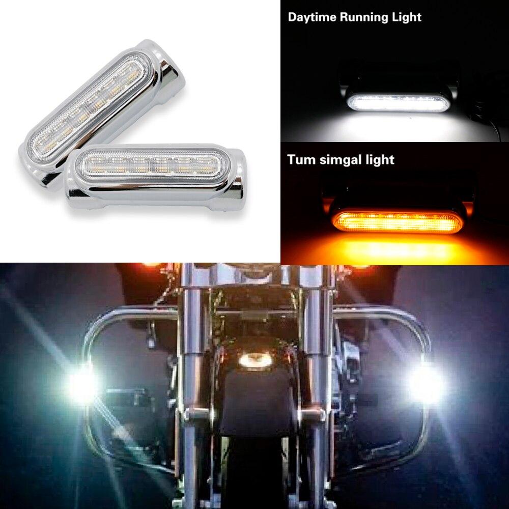1 Pair Street Glide LED Engine Guard Lights White Amber Color 1.3inch Highway Bar Swichback Drving Lights For Harley Davidson