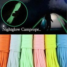 20 м 9 нитей шнур люминесцентный светящийся нейлоновый Паракорд Парашютная веревка для походов на природе скалолазание Пряжка веревка