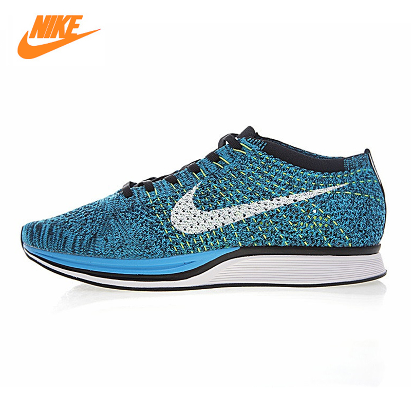 Nike Flyknit Racer Для Мужчин's Кроссовки, открытый Спортивная обувь Обувь, темно-синий/синий, нескользящая, амортизатора 526628 102 526628-402