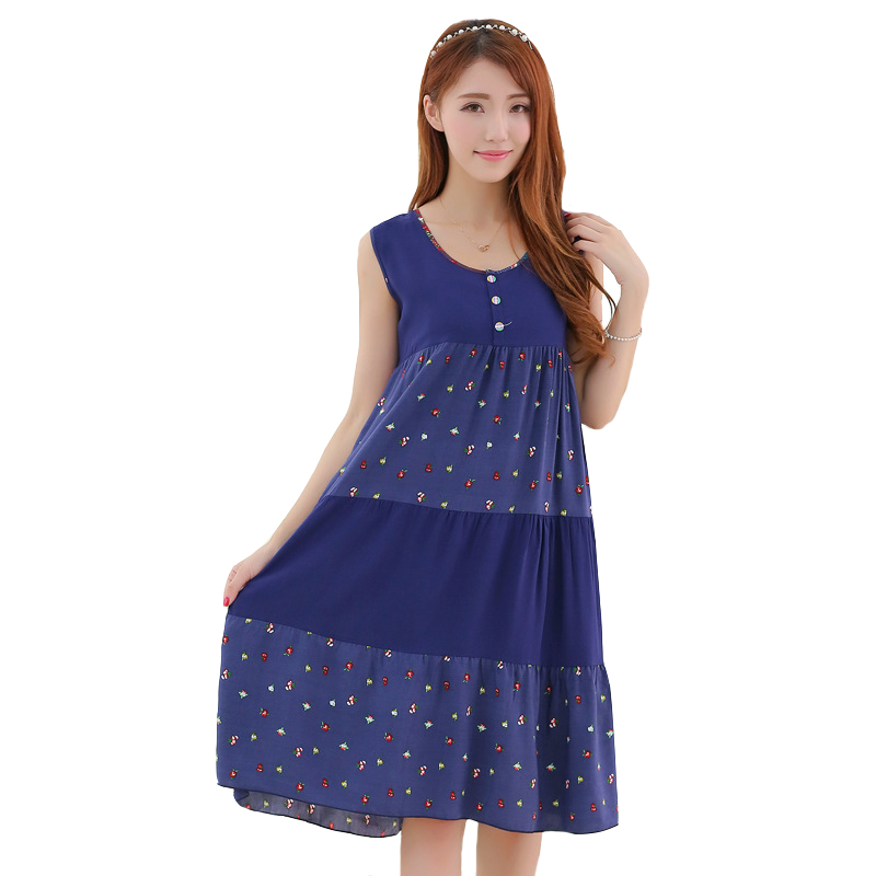 NEW Female Nightgown Lounge Print Sleepwear Blue Sexy Sleep Shirt Summer Nightdress Cotton Lady Home Clothes Intimate Lingerie