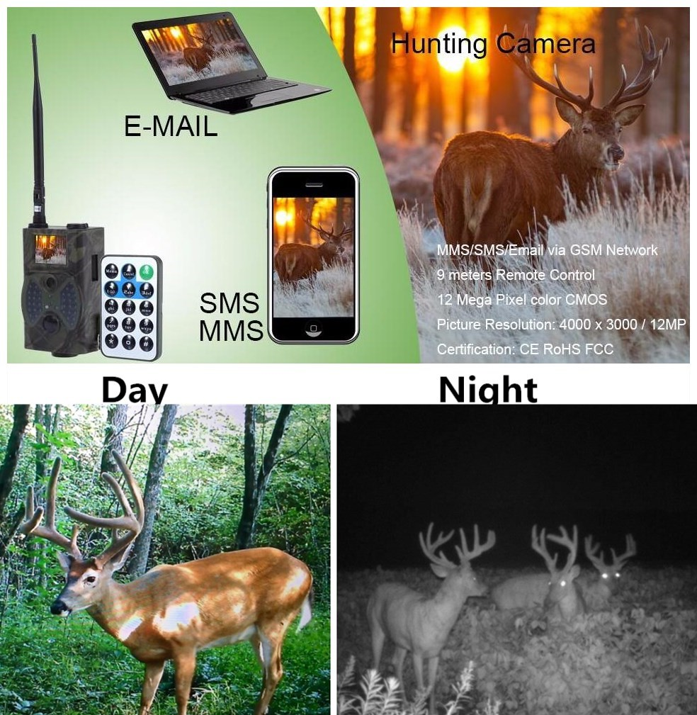 940NM Scouting Hunting Camera HC300M HD GPRS MMS GSM Digital Infrared Trail Camera Black IR No Flash scouting hunting camera hc300m hd gprs mms digital 940nm infrared trail camera gsm 2 0 lcd hunter cam drop shipping