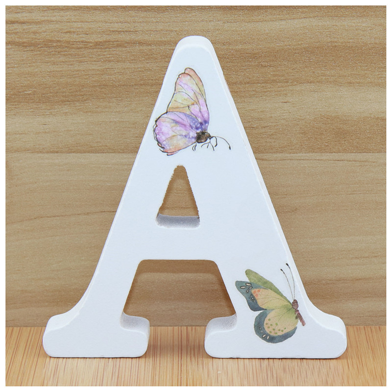 1pcs 10X10cm 3D Butterfly Wooden Letters Alphabet Hand Made Word Wood Letter Name Design Art Crafts Birthday Party Wedding DIY