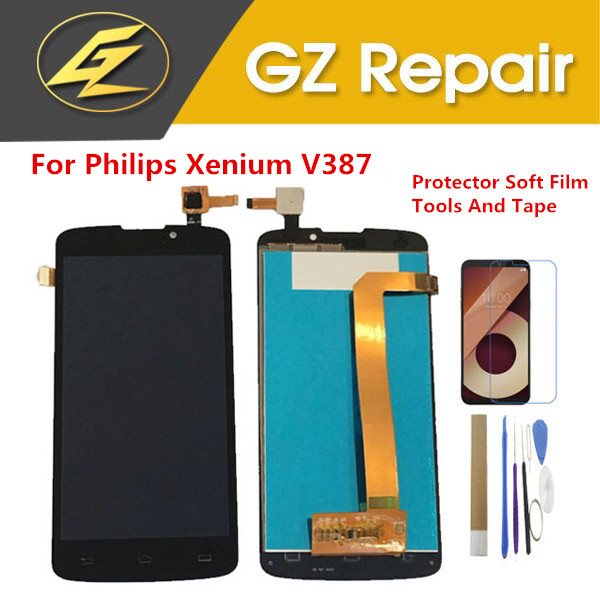 Black Gold Color 5.0 Inch For <font><b>Philips</b></font> Xenium <font><b>V387</b></font> LCD Display With Touch Sensor Digitizer With Kits image