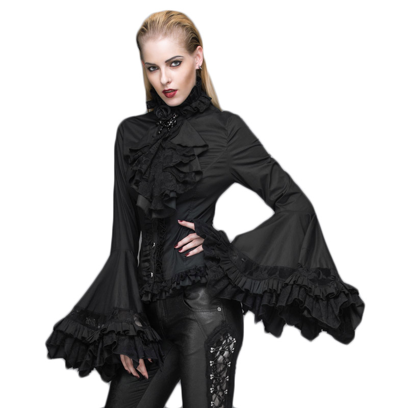 """""""Steampunk"""" gotikiniai moteriški marškinėliai """"Court Palace"""" liepsnos rankovių nėriniai marškiniai juodai baltos palaidinės marškiniai su gėlių apykakle moterims"""