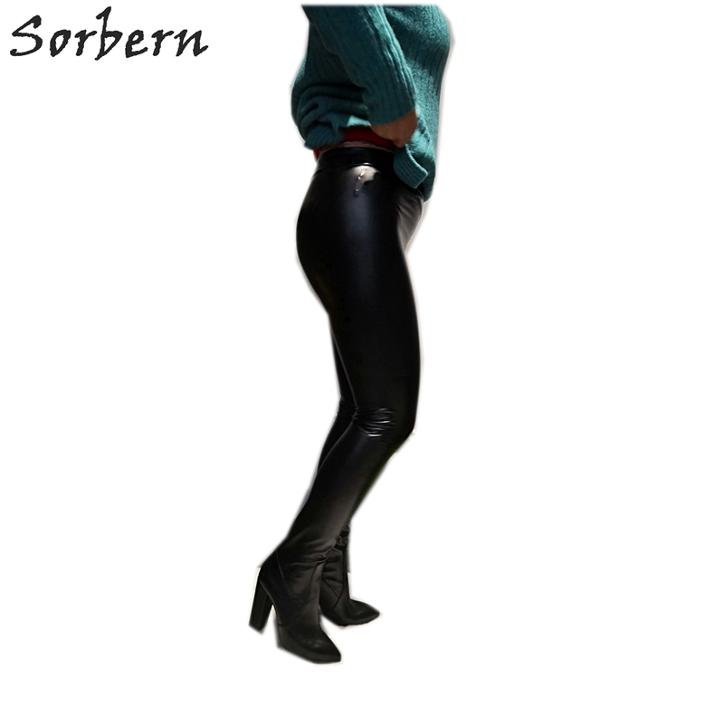 Sorbern Black Stretched Pants Thigh High Boots Women -8883