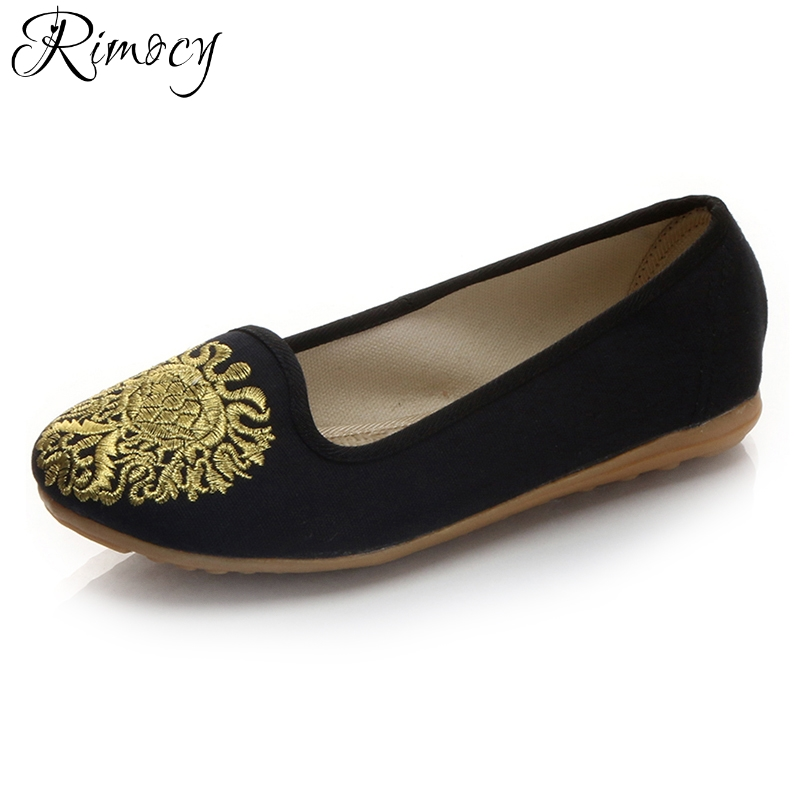 Rimocy soft sole slip on flats women 2018 spring summer breathable canvas flat heels embroidery casual shoes woman red loafers chinese women flats shoes flowers casual embroidery soft sole cloth dance ballet flat shoes woman breathable zapatos mujer
