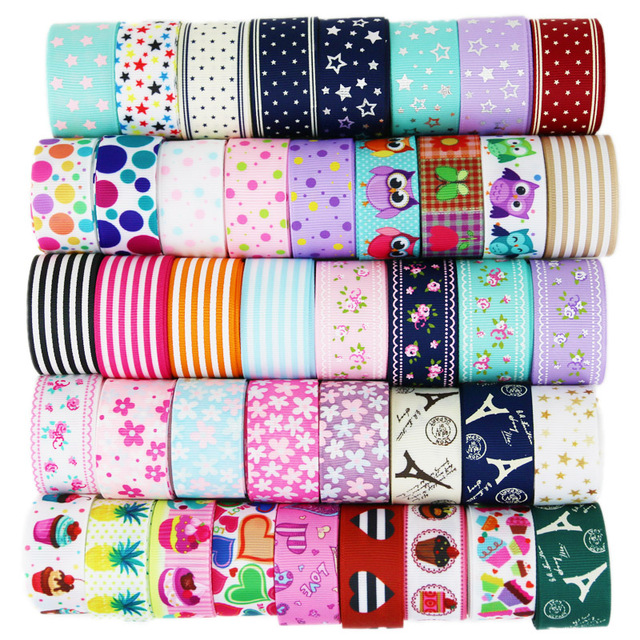 (6 Ribbon Mix) grosgrain ribbon printed lovely floral lace fabric satin ribbons (9/22/25mm)
