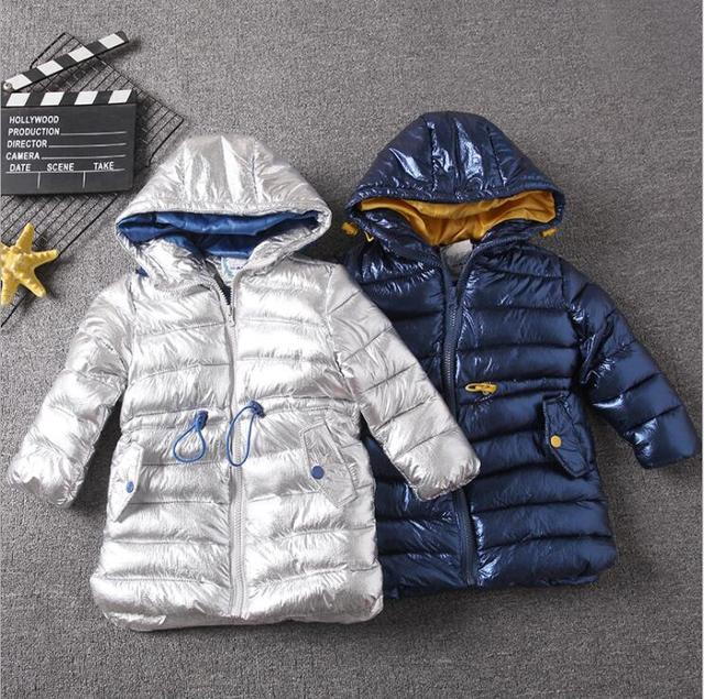 Special Price Children winter jacket for kids girl silver gold Boys Casual Hooded Coat Baby Clothing Outwear kids Parka Jacket snowsuit