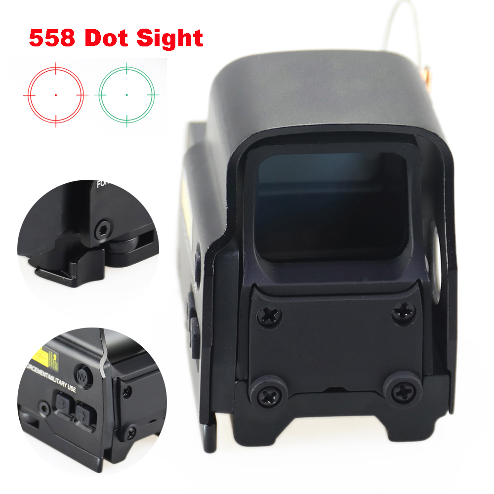 Aluminum Tactical Holographic 558 Red Green Dot Sights Reticle Brightness Adjustable Hunting Airsoft Riflescope 20mm Rail Mount.