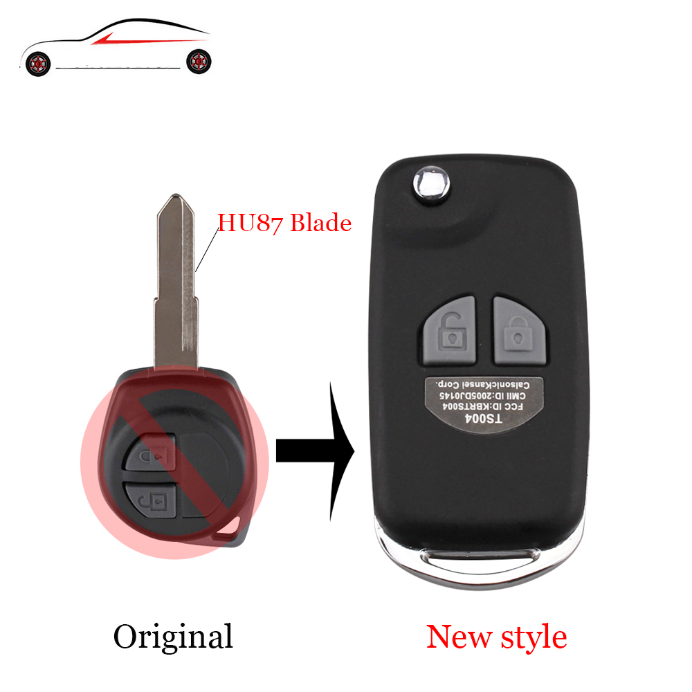 GORBIN Modified Folding Remote Car Key Case Shell For SUZUKI HU87 Blade For SUZUKI SX4 Swift 2 Button + Button Pad