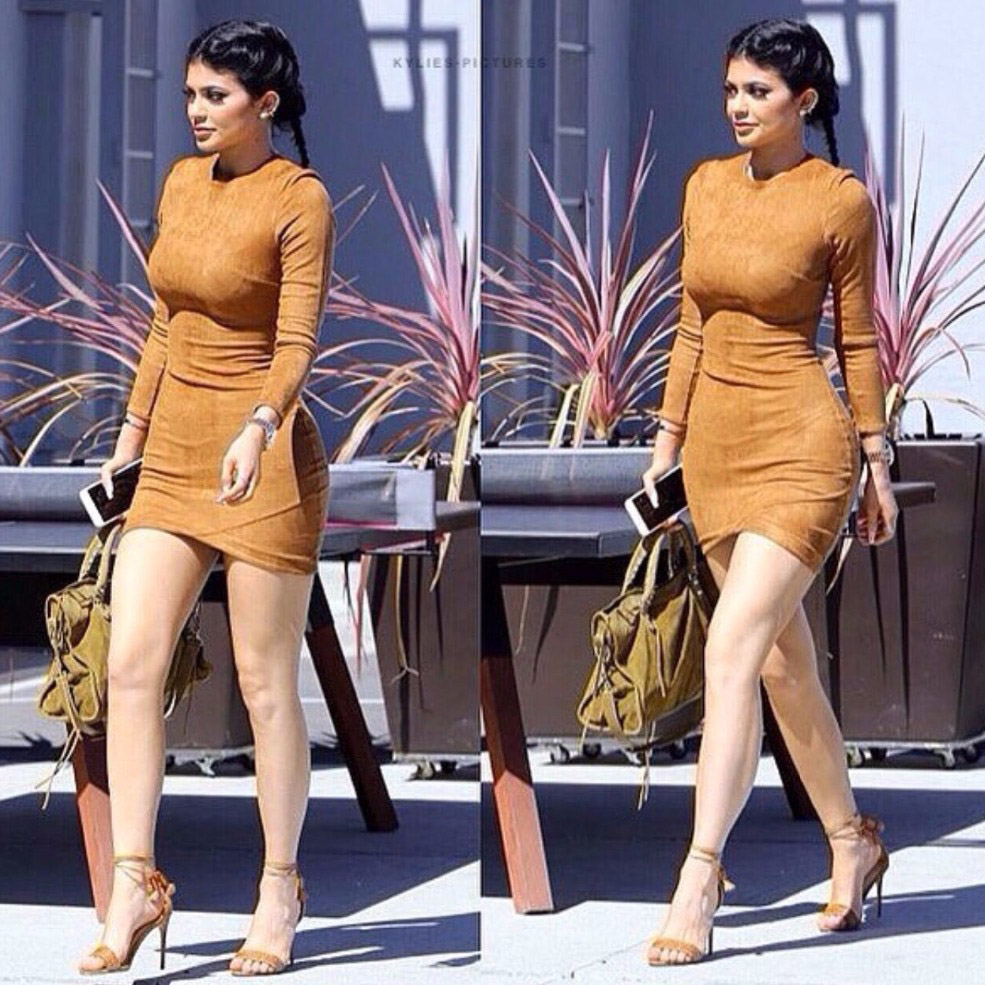 2016 Long Sleeve Slim Party Dress Sexy Club Brown Vestido Women Spring  Dresses Kylie Jenner Skin Tight Faux Suede Bodycon Dress-in Dresses from  Women s ... f7e8293ce0d4