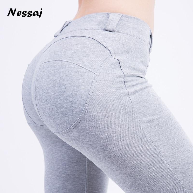 Nessaj Good Quality Low Waist Leggings Push Up Pants Elastic Leggings Women Sexy Skinny Leggings 2017
