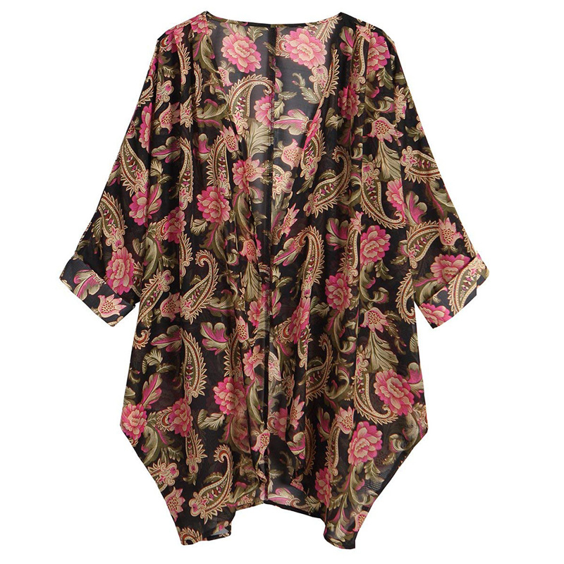 Women Blouses Chiffon Print Kimono Cardigan Feminine Blouse Shirt Tops for Women 2018 Womens Tops and Blouses Ladies Top Female