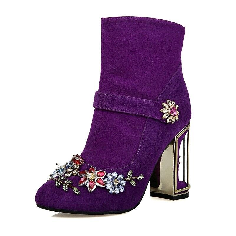 Strass Bottes Robe Automne Cuir Hiver Chaussures Black purple Talons Femme Rond Parti Bout Facndinll Véritable Haute Mode Cheville En ptwxBqPPZ