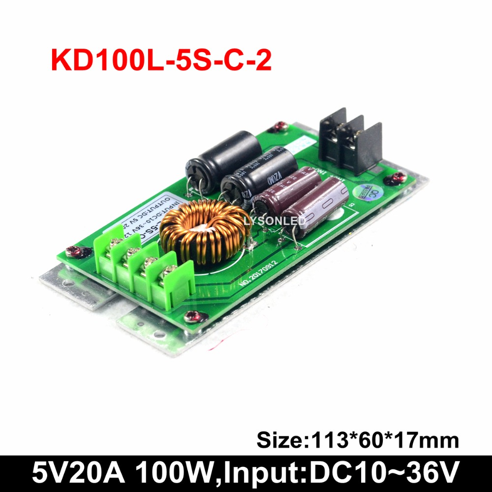 5V20A 100W Slim Bus/vehicle Led Moving Text Display Power Supply , DC10~36V Input Supply Support Bus Led Message Signs