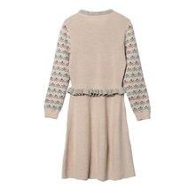 b3120c22b58 2018 New Winter Autumn Women Dress Floral Print Long Sleeve O-neck Loose  Ruffles Waist Knitted Sweater Dress Haute Couture