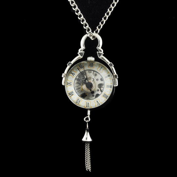 New Steampunk Transparent Glass Silver Ball Mechanical Pocket Watch Chain Pendant Necklace For Women цена