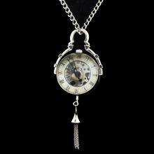 New Steampunk Transparent Glass Silver Ball Mechanical Pocket Watch Chain Pendant Necklace For Women