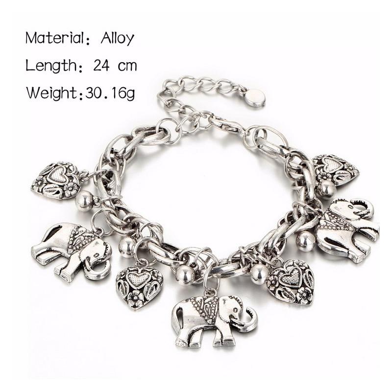 IF YOU Vintage Silver Color Elephant Charm Bracelet For Men Bohemian Statement Bracelets Bangles pulseira Feminina Jewelry Gift 3