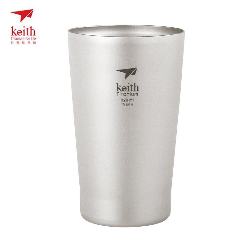 320 мл Кейт Титан двойными стенками пива чашка с двойными стенками Посуда для напитков Кемпинг Кубок рукоятки Термальность изоляции легкий 98...