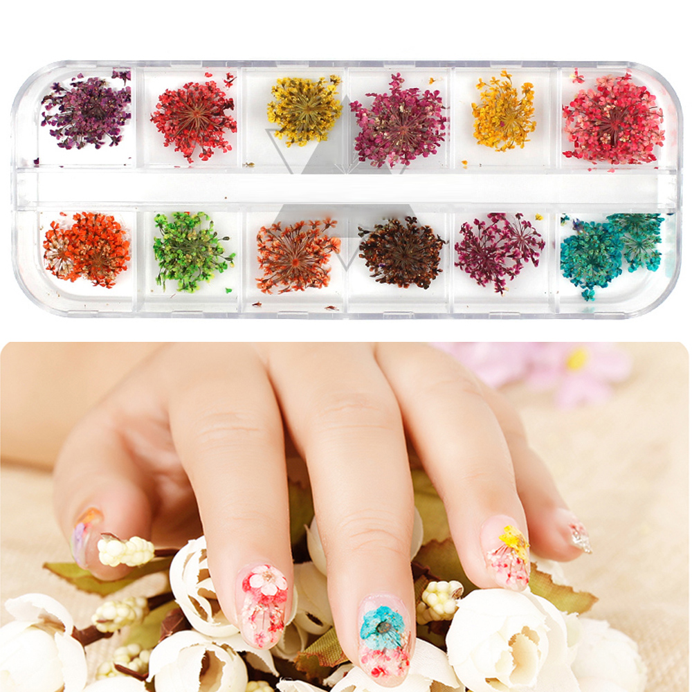 Image 5 - LKE 12 Color/Set  Nail Glitter Mixed Dried flowers Color Nail Modification for UV Gel Flakes Nail Art Decoration Sparkly DIY Tip-in Nail Glitter from Beauty & Health