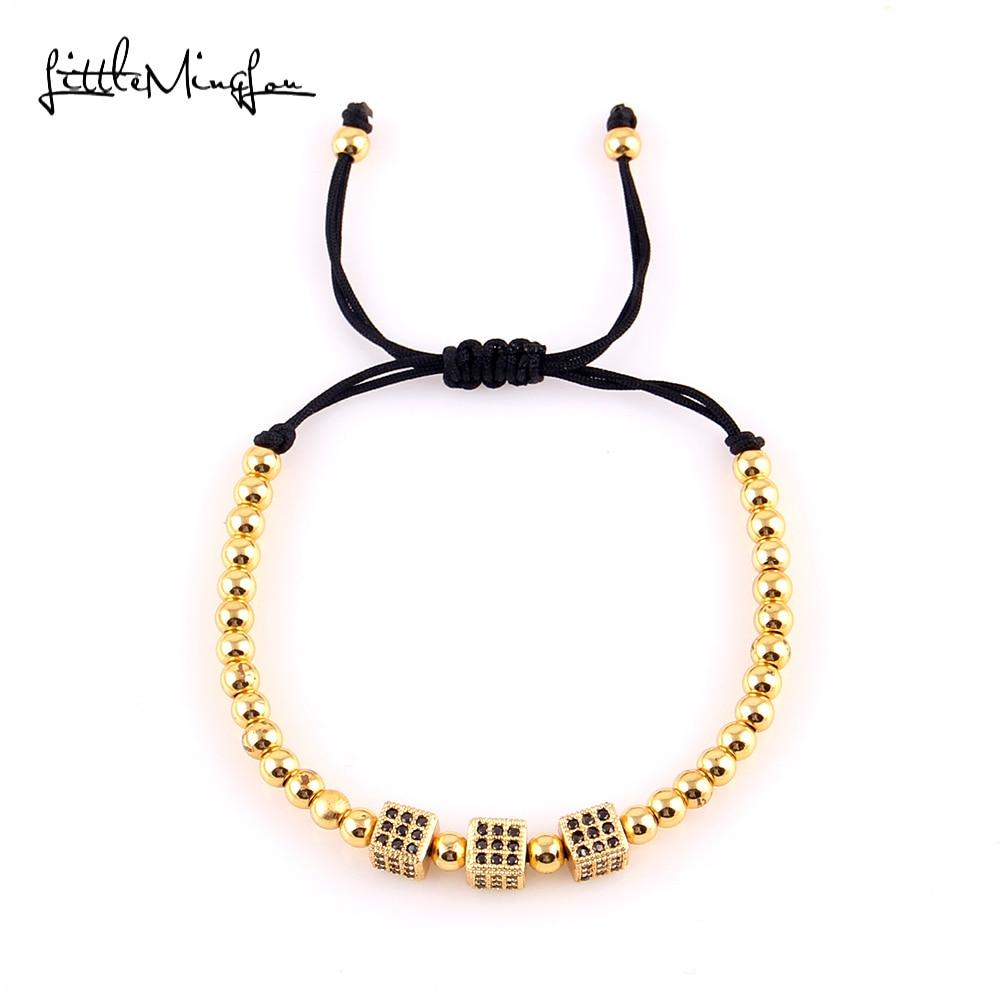 WML Men Bracelets Bangles Round Beads Micro Pave Black CZ Beads Cube Dice Macrame Braided Charm Bracelets Jewelry in Charm Bracelets from Jewelry Accessories