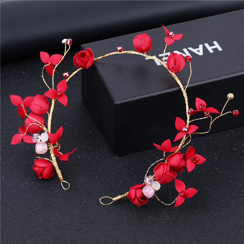 HIMSTORY Handmade Sweet Crystal Beads Hairband Women Bride Red Flower Hair Tiara Charming Fascinator Wedding Hair Accessories in Hair Jewelry from Jewelry Accessories