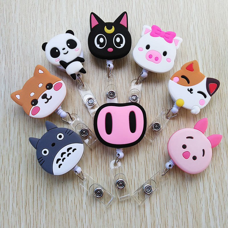 1pcs Silica Gel Lovely Cat For Telescopic Badge Reel  Bus Card Student Nurse ID Name Card 2018 New Badge Holder Office Supplies