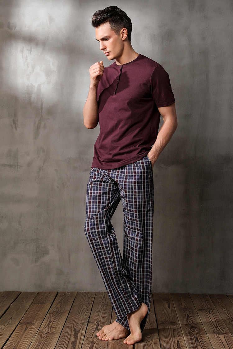 Бесплатная доставка. осенние Брендовые мужские пижамы для сна, домашняя  одежда для сна, хлопковая 293a15b68aa