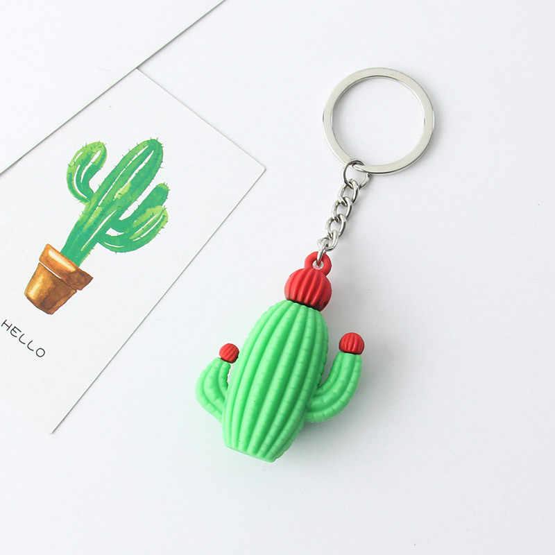 Criativo simulação mini planta vaso chaveiro cactus resina chaveiros, saco de carro acessórios masculino ou feminino chaveiro chaveiro menina