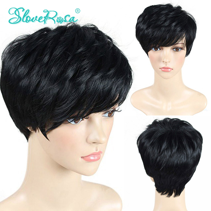 Full Machine Made Lace Front Human Hair Wigs Brazilian Remy Human Hair Wigs 6 Inches Short