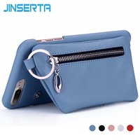 JINSERTA Phone Case For IPhone 8 8 Plus Cover Leather Luxury Wallet Magnetic Buckle Card Slot