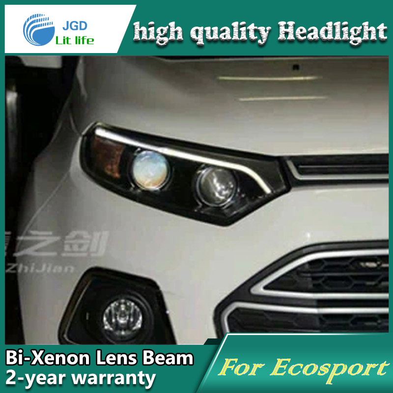 high quality Car styling case for Ford Ecosport 2013 Headlights LED Headlight DRL Lens Double Beam HID Xenon Car Accessories 1 pcs diy car styling new pu leather free punch with cup holder central armrest cover case for ford 2013 fiesta part accessories