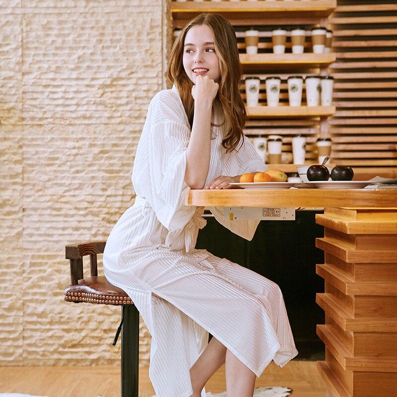 Autumn Winter Women Robe Sleepwear Midi Bathrobe Nightwear Long Rob Femme Homewear Kimono Wedding Bride Bridesmaid Pajamas
