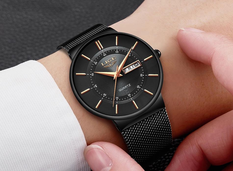 HTB1EVdTdW5s3KVjSZFNq6AD3FXaA Relogio Masculino 2019 LIGE New Mens Watches Top Brand Luxury Ultra Thin Quartz Watch Men Steel Mesh Strap Waterproof Gold Watch