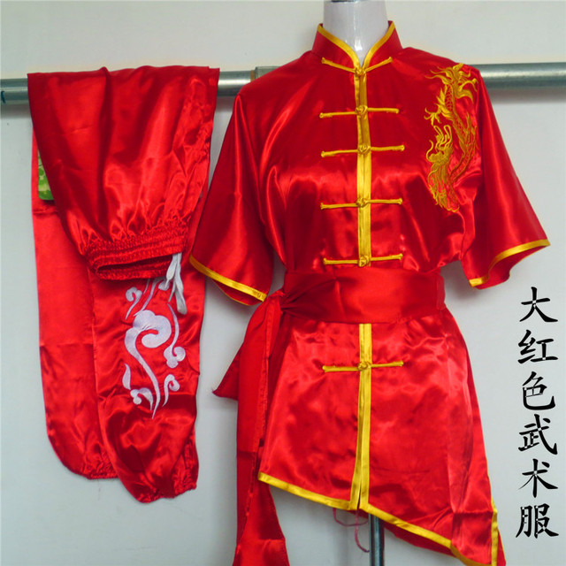 US $76 3 |Red Chinese Kung Fu Suit satin Martial arts performance clothing  dragon Embroidery clothes Tai Chi uniforms for adult child on