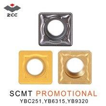 ZCC.CT SCMT SCMT09 SCMT12 10 unidades/lote, torneado con carburo de tungsteno, insertos para acero inoxidable, herramientas de torno CNC