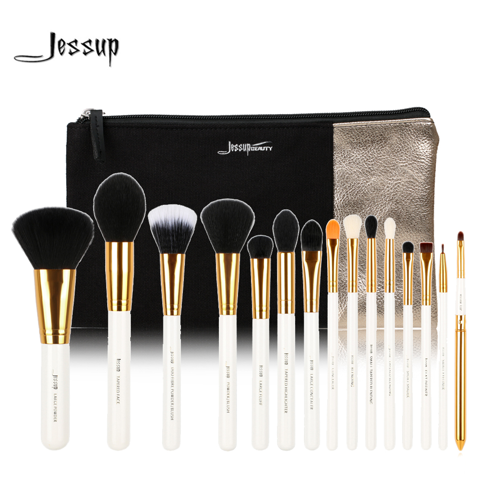 Jessup Brand 15pcs Makeup Brushes Brush Set Tool White/Gold T103 & Cosmetics Bag Women Bag CB002 Make up brush Beauty tools подвесная люстра citilux аттика cl416161