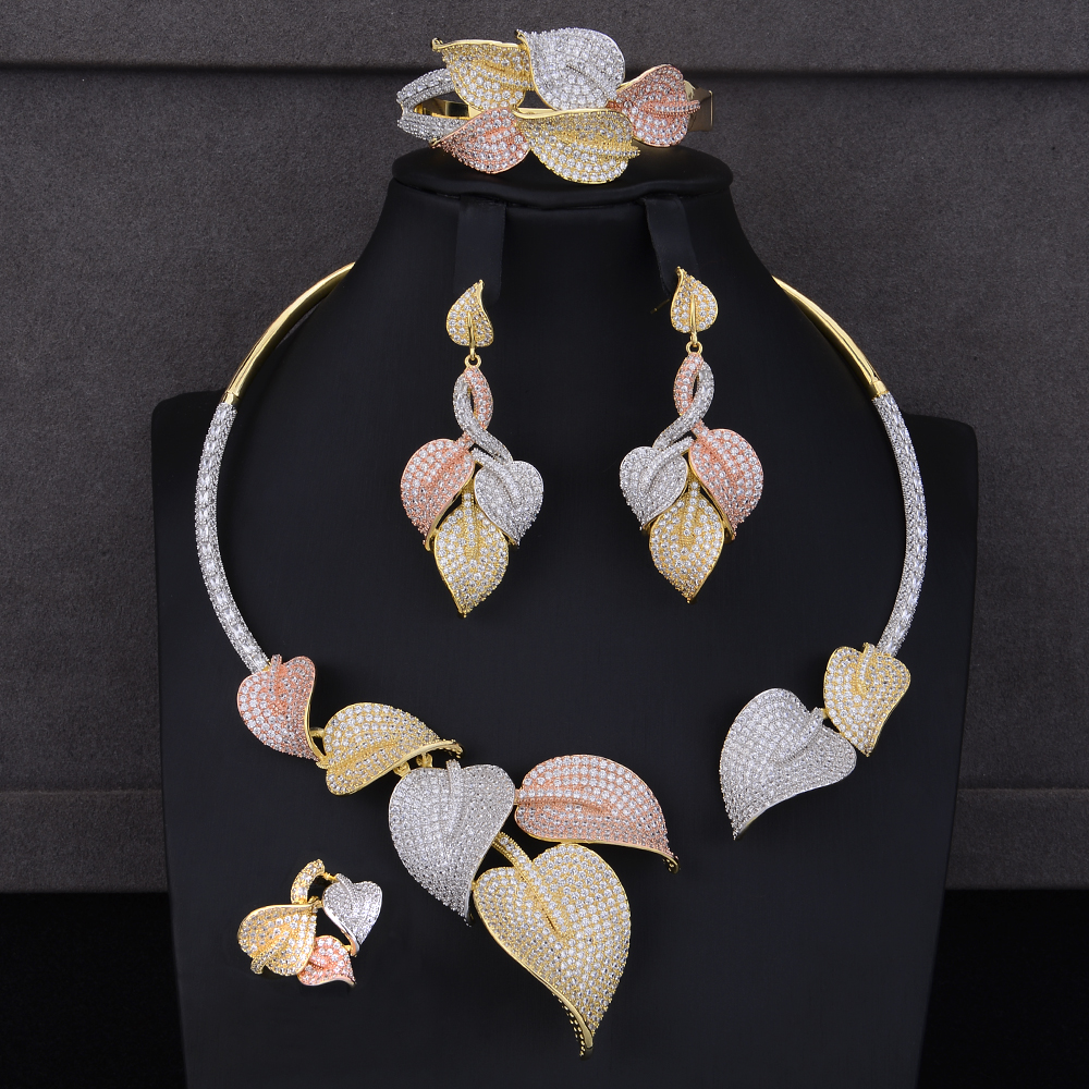 Deluxe Bridal Jewelry Sets Leaf Shape Cubic Zirconia Collar Necklace Dangle Earrings Bracelet Ring Jewelry Sets Wedding Wear playgro игрушка подвеска божья коровка