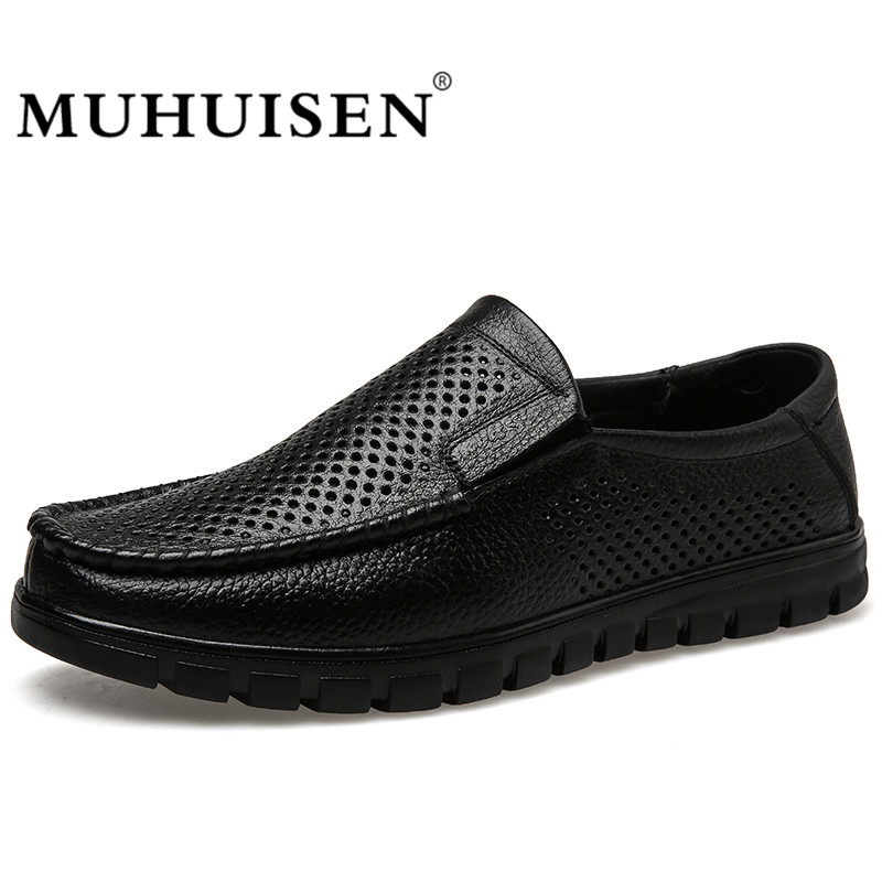 MUHUISEN Men Loafers Summer Casual Boat Shoes Fashion Genuine Leather Slip On Driving Shoes Hollow Out Breathable Flats men s crocodile emboss leather penny loafers slip on boat shoes breathable driving shoes business casual velet loafers shoes men