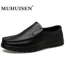 MUHUISEN Men Loafers Musim Panas Sepatu Boat Kasual Fashion Kulit Asli Slip Pada Sepatu Mengemudi Melubangi Bernapas Flats
